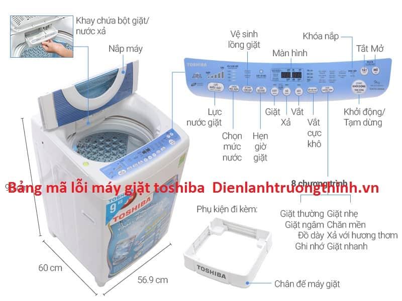 Bảng mã lỗi máy giặt toshiba